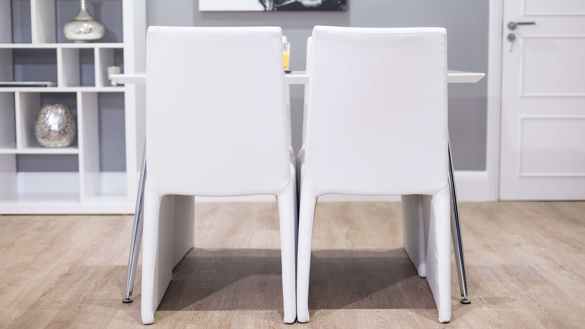 Stylish White Dining Chairs and Small Glossy Dining Table