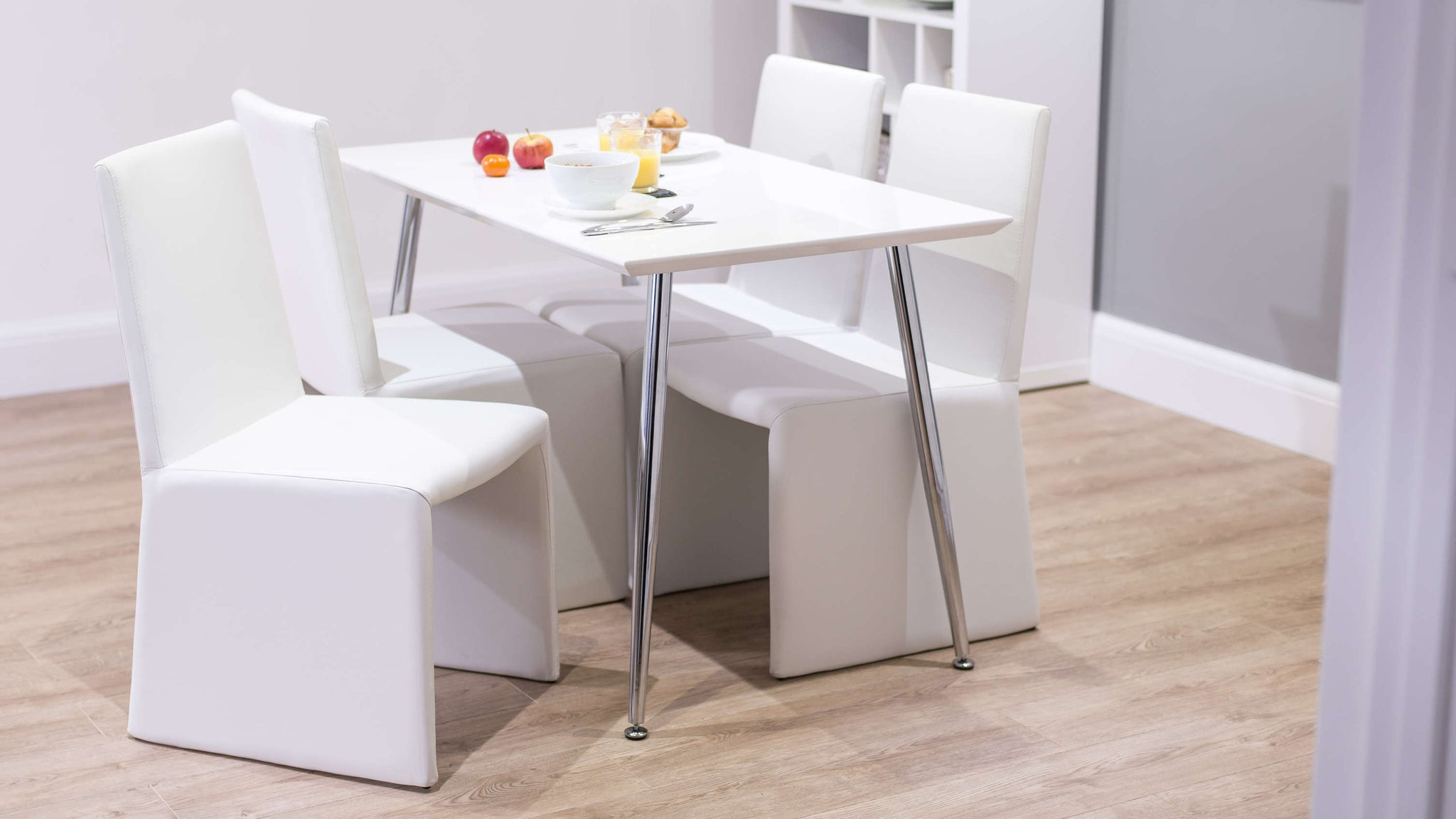 Comfortable White Dining Chairs and Small White Dining Table