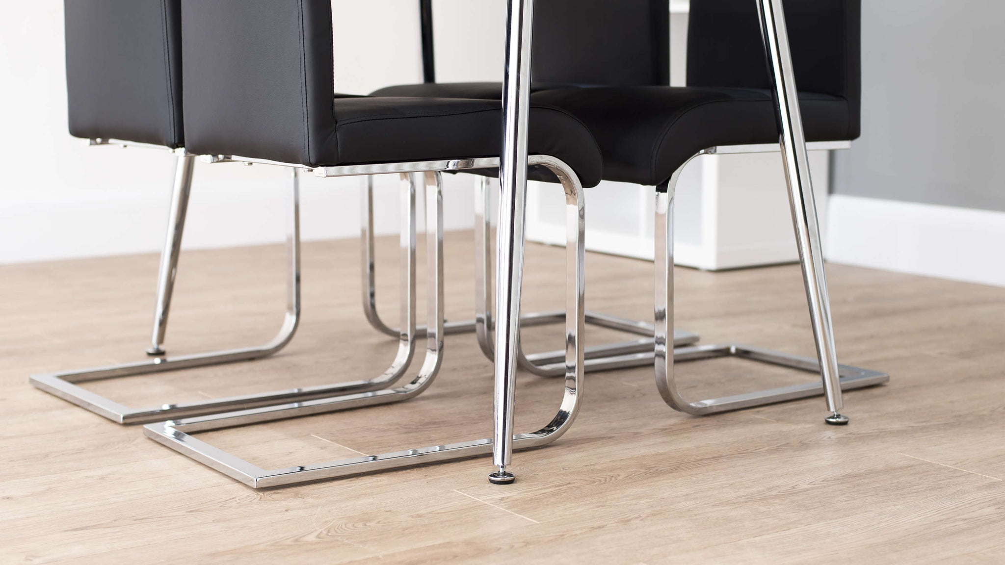 Chrome Legged Dining Table with Floor Protectors