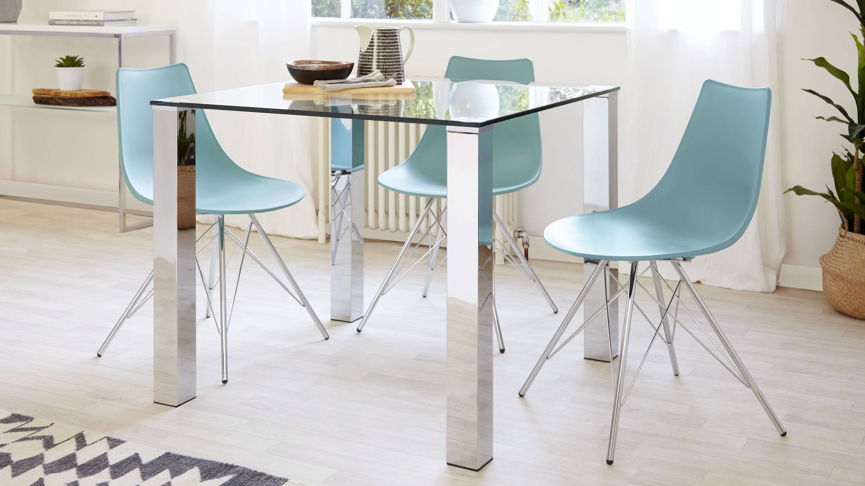 Tiva 2 To 4 Seater Small Glass And Chrome Dining Table Danetti
