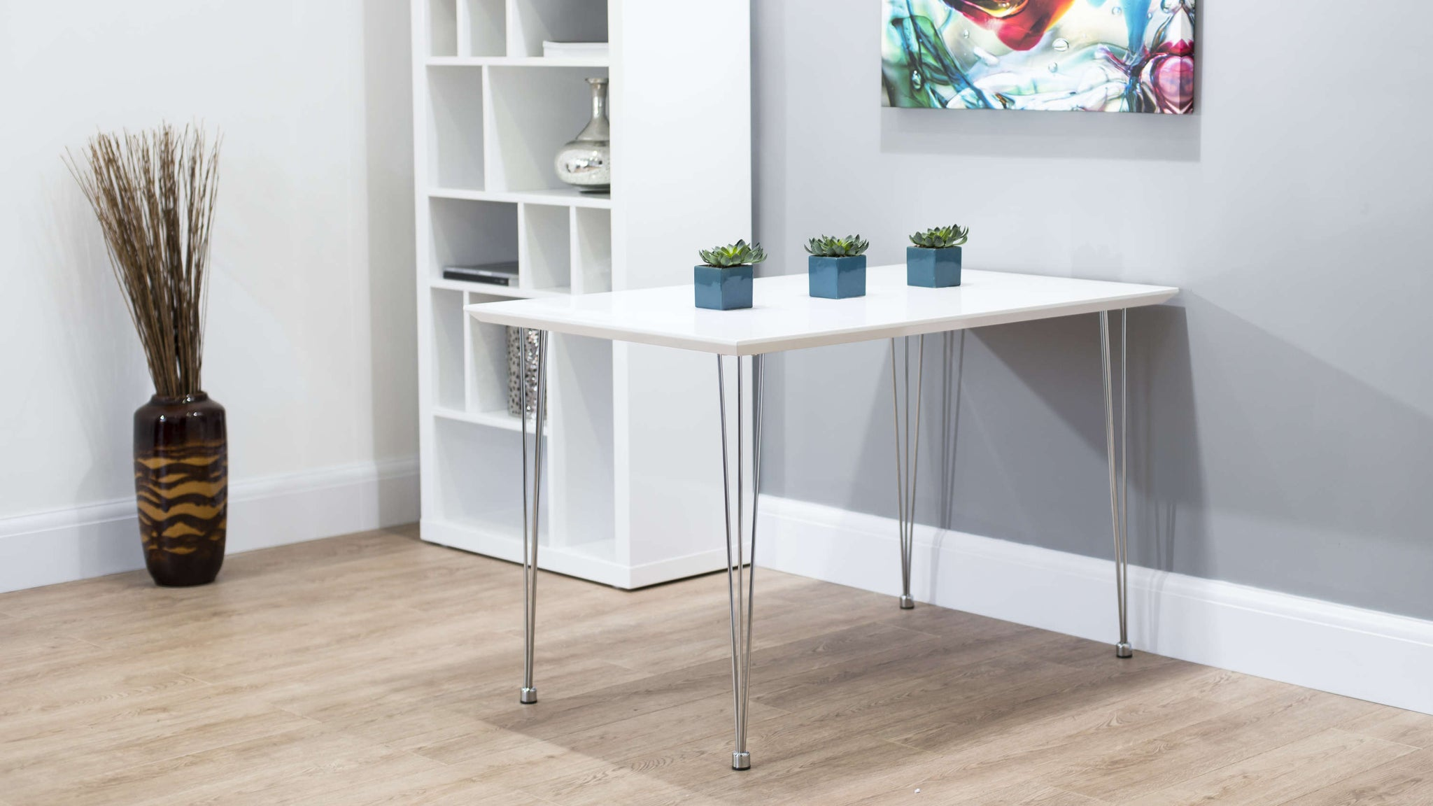 White Gloss and Chrome Legged Dining Table