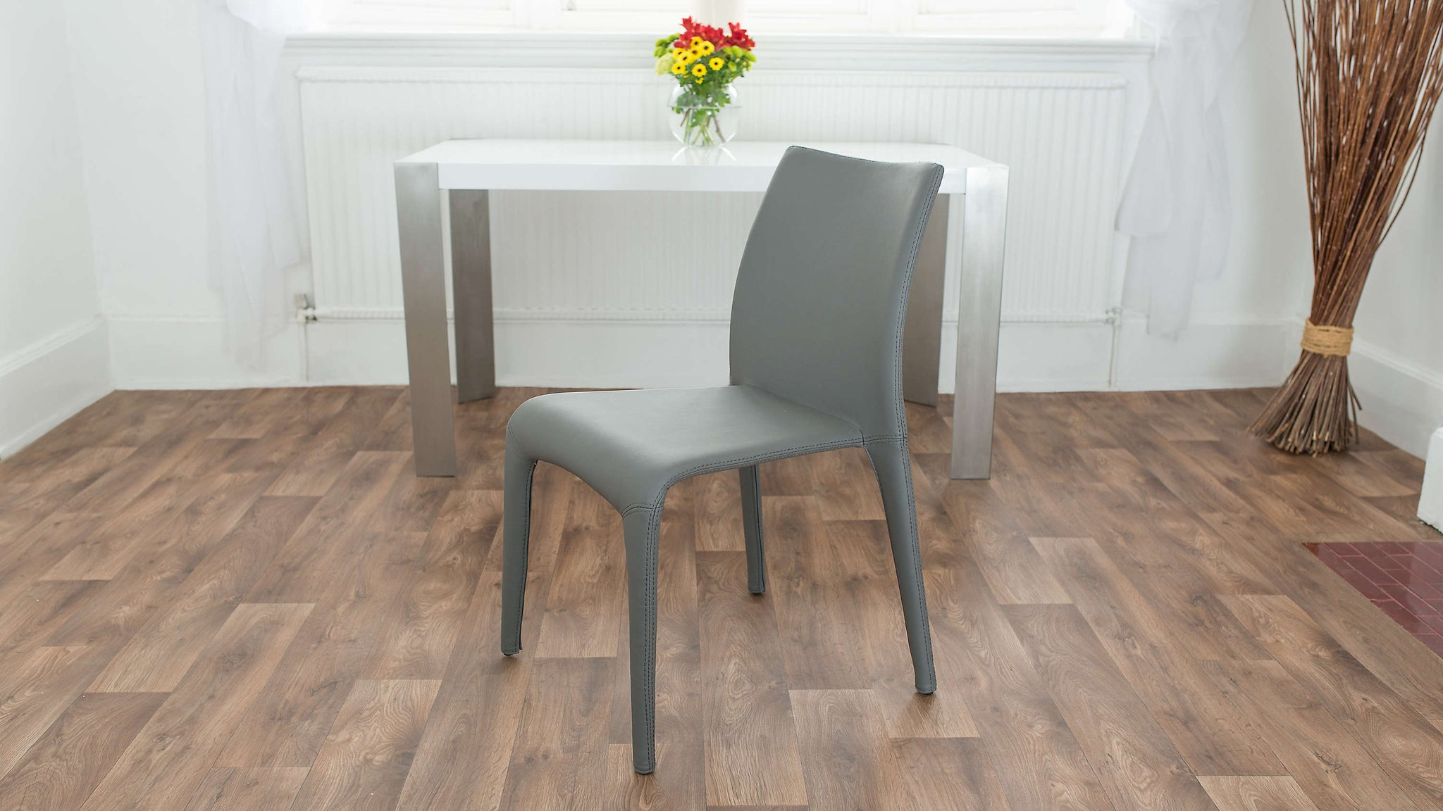 Grey Leather Dining Chair