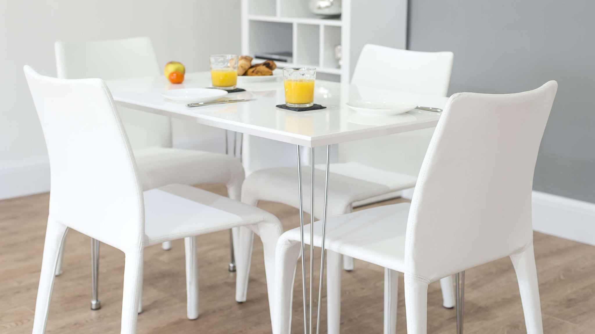 Stylish Dining Chairs and White Gloss Dining Table