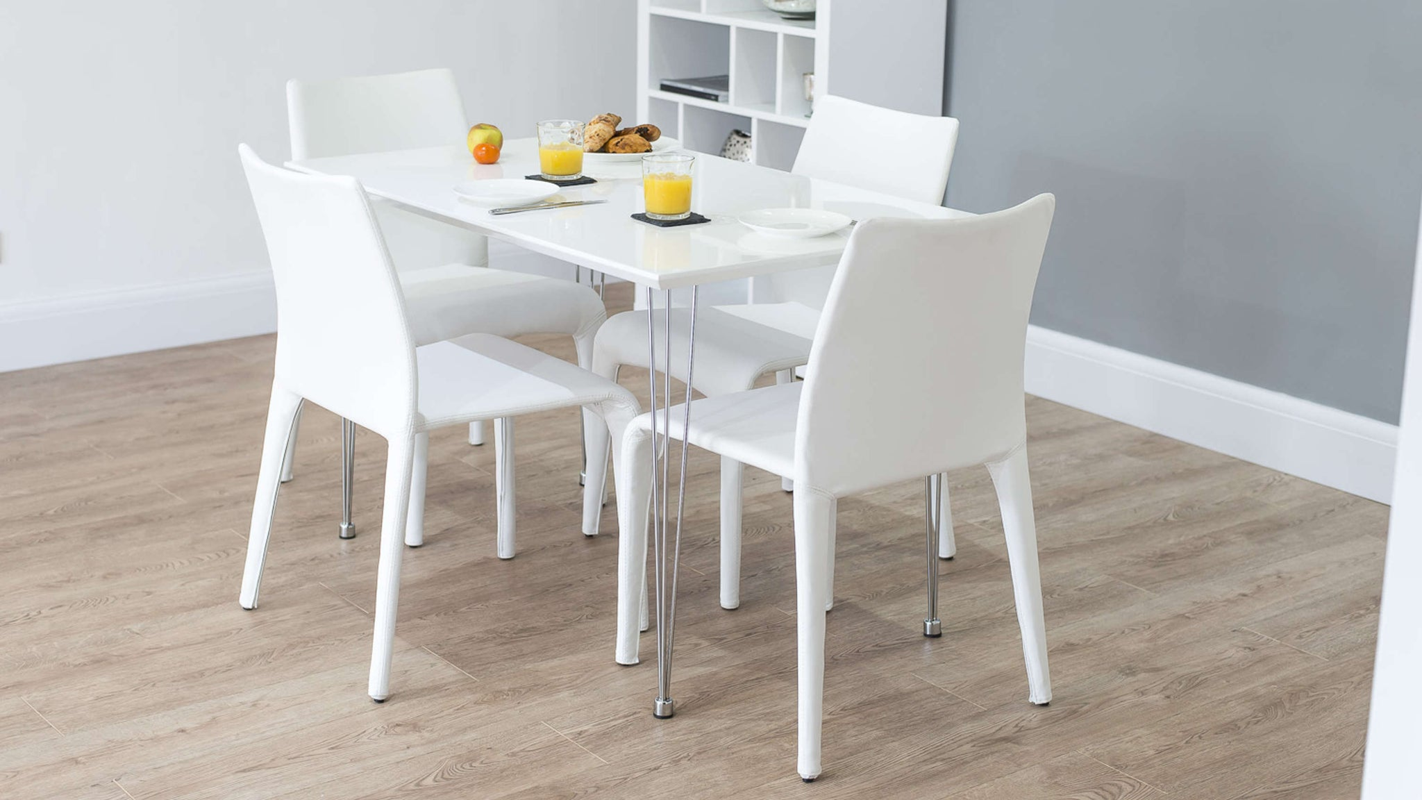 4 Seater White Dining Set