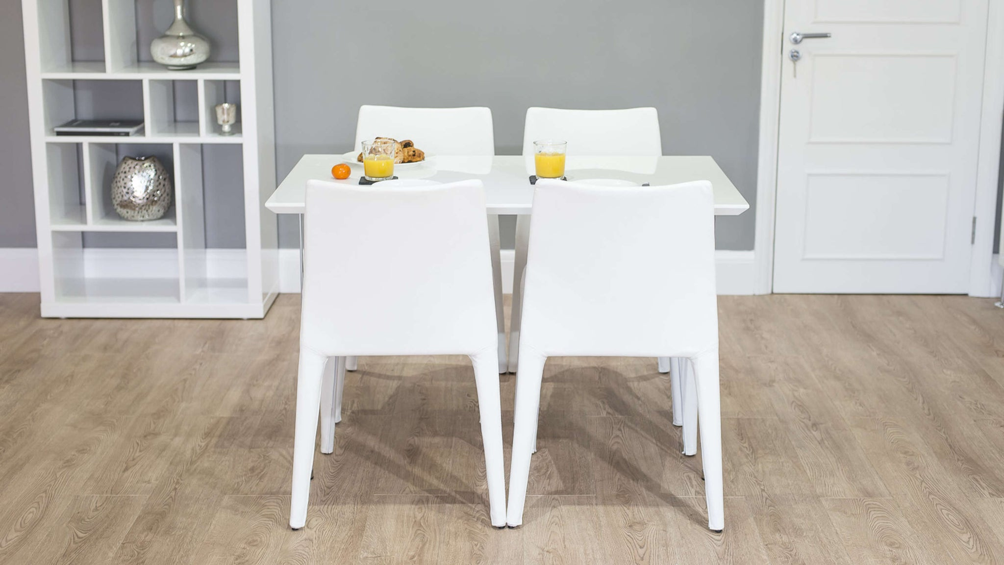 Rectangular Kitchen Dining Table and White Dining Chairs