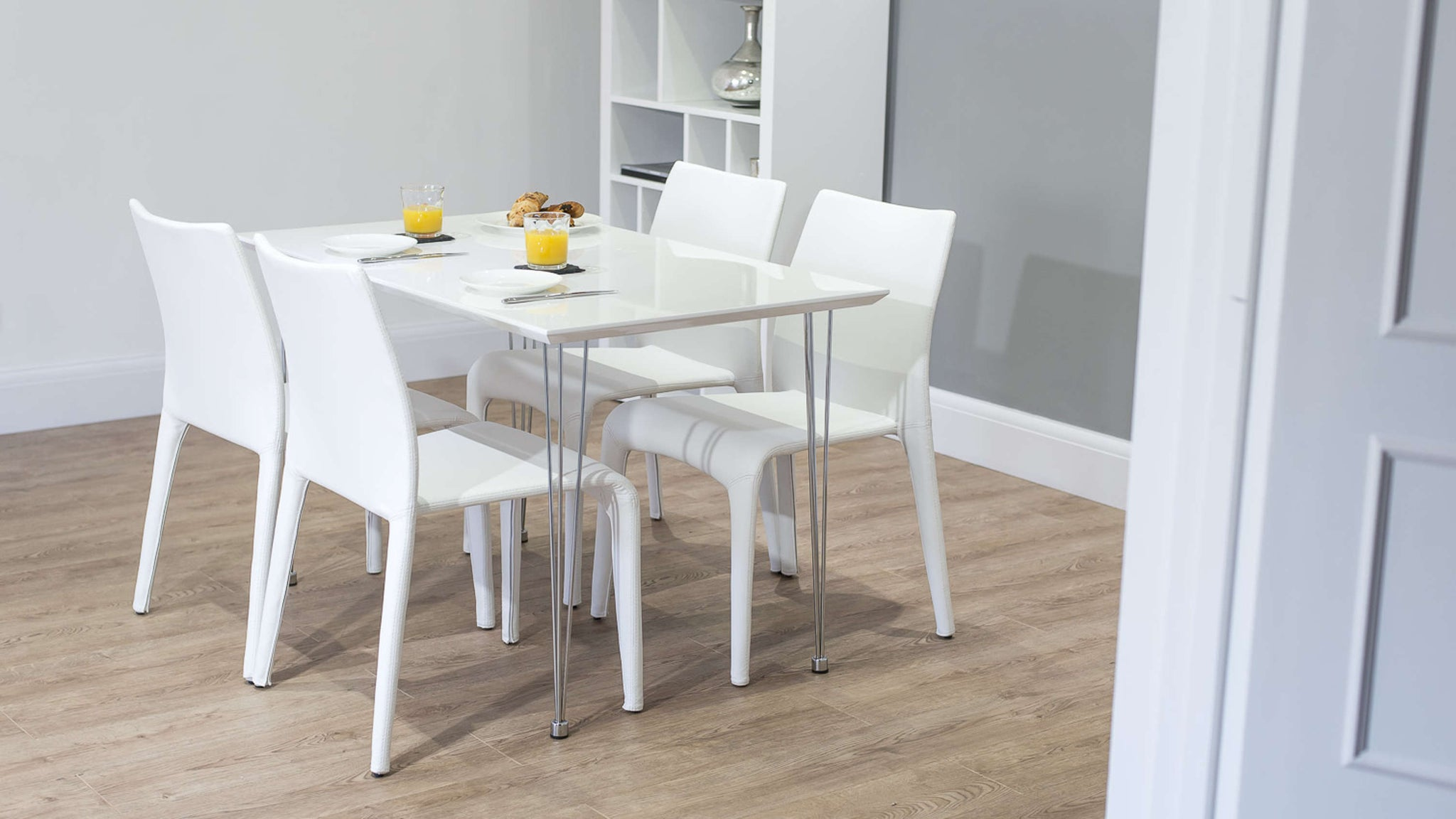 Modern White Stackable Dining Chairs and 4 Seater Dining Table