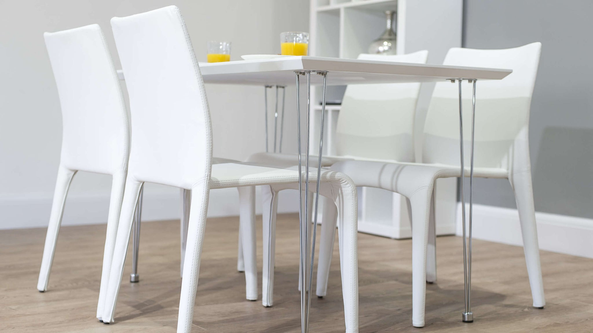 Stylish Chrome Based Dining Table and Chairs