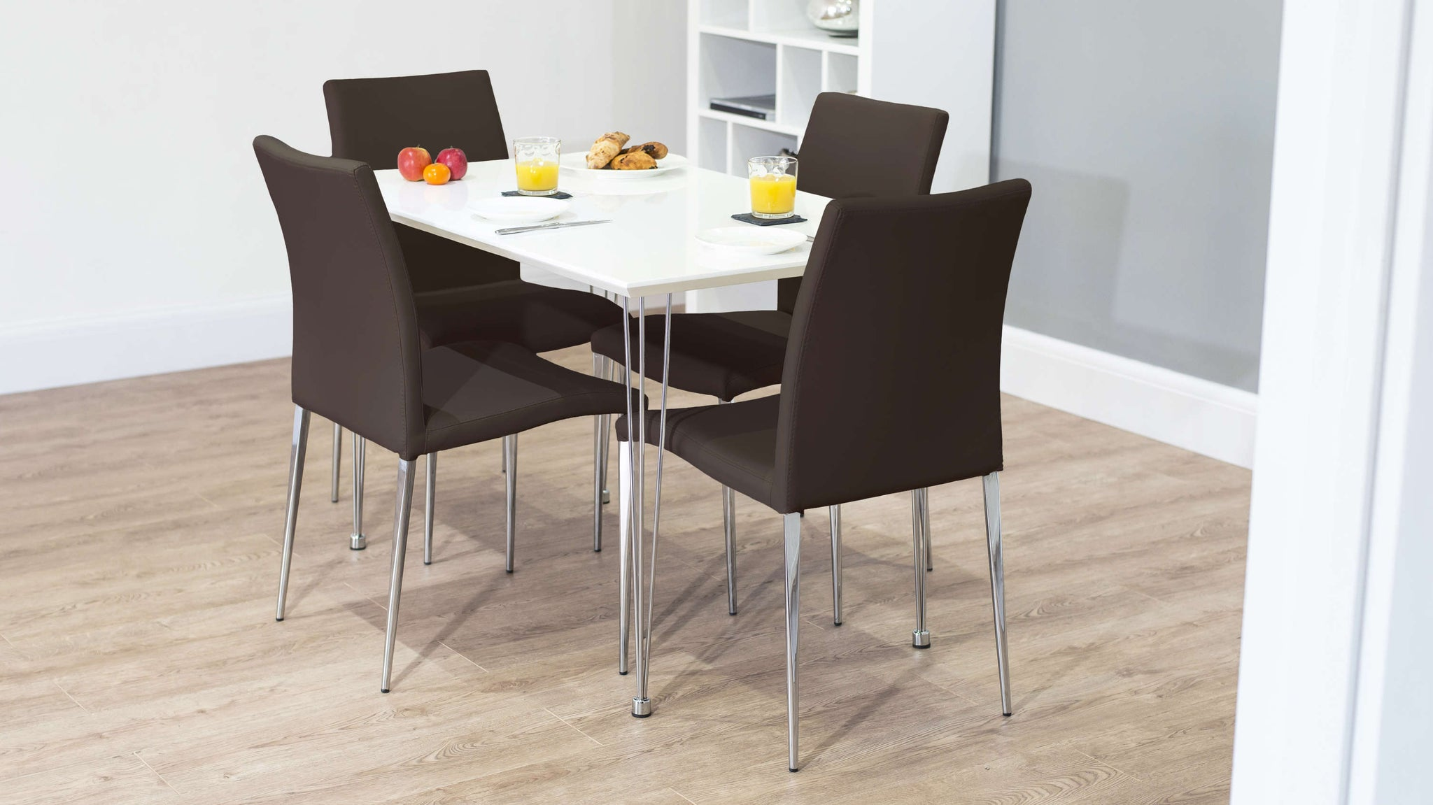 Stylish Brown Dining Chairs and Small Dining Table