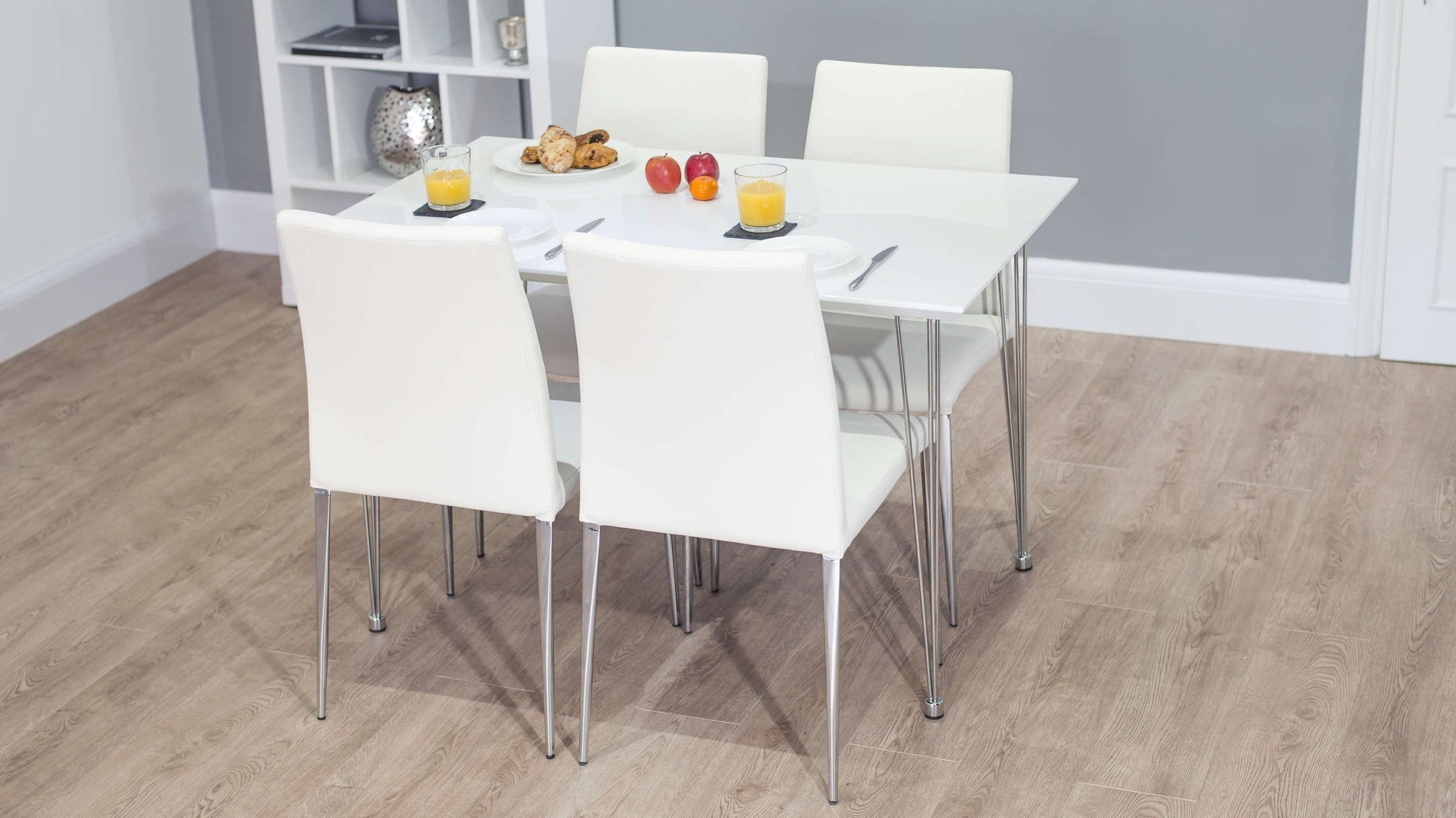 Modern White Gloss Small Dining Table and White Dining Chairs