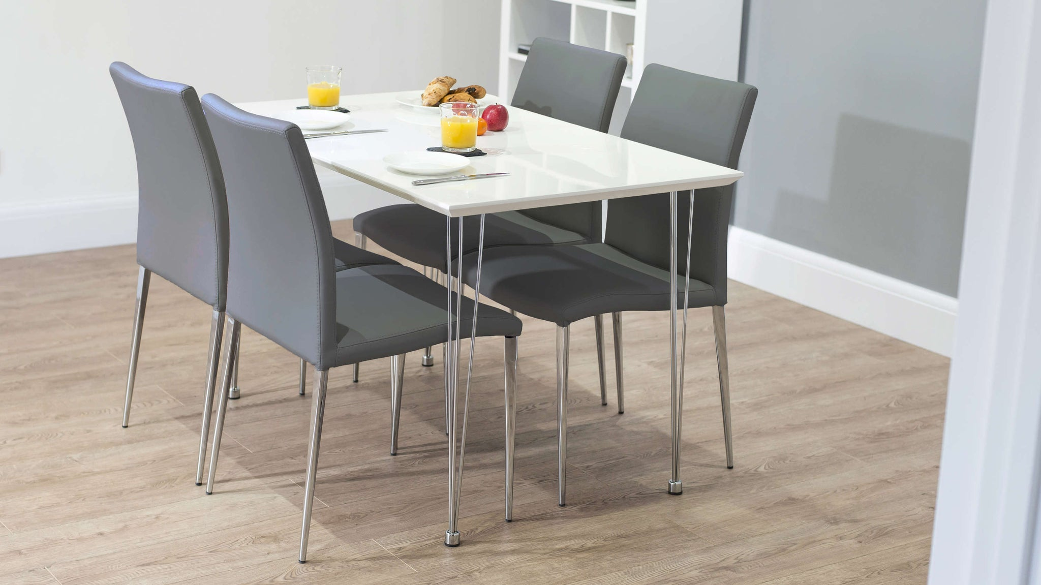 Small White Gloss Dining Table and Grey Dining Chairs