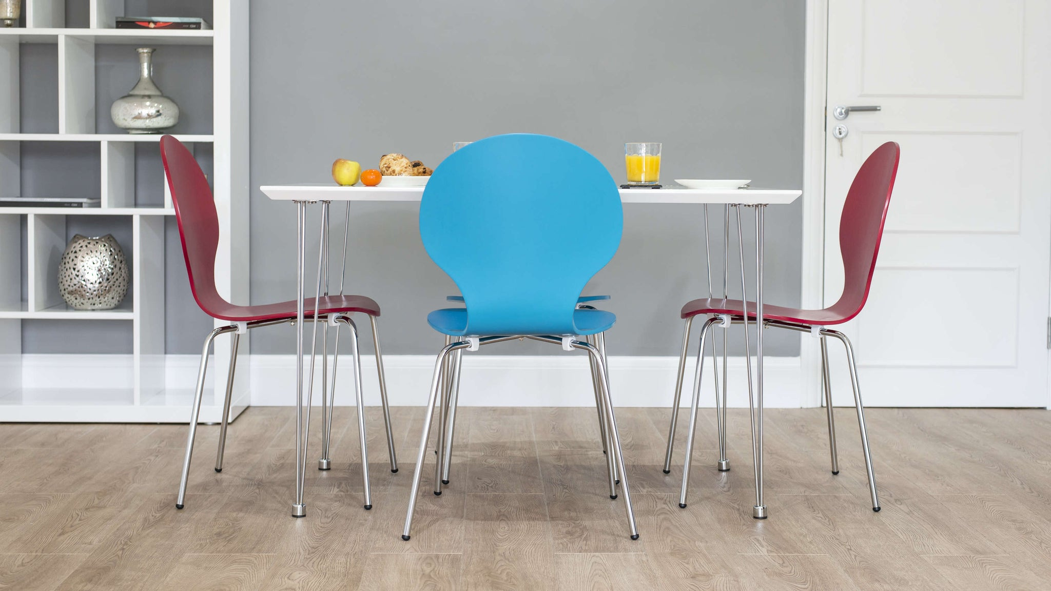 Small White Gloss Dining Table with Colourful Dining Chairs