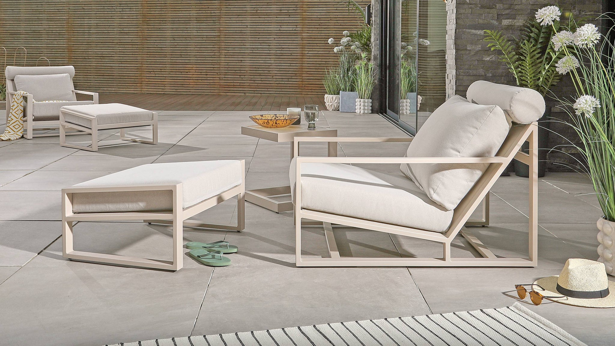 modern beige garden furniture