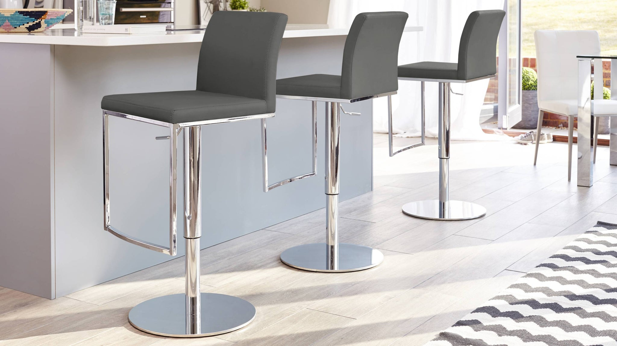 Dark Grey Gas Lift Bar Stools with Footrests