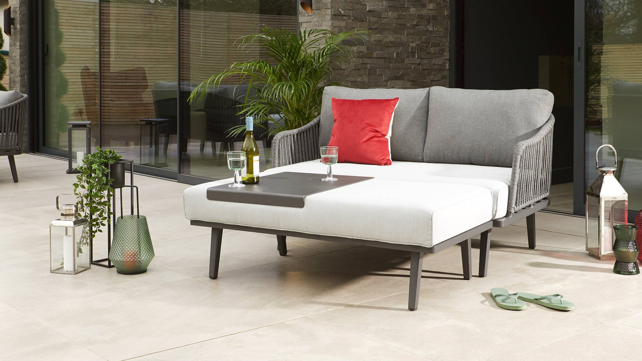 Modern garden furniture tray