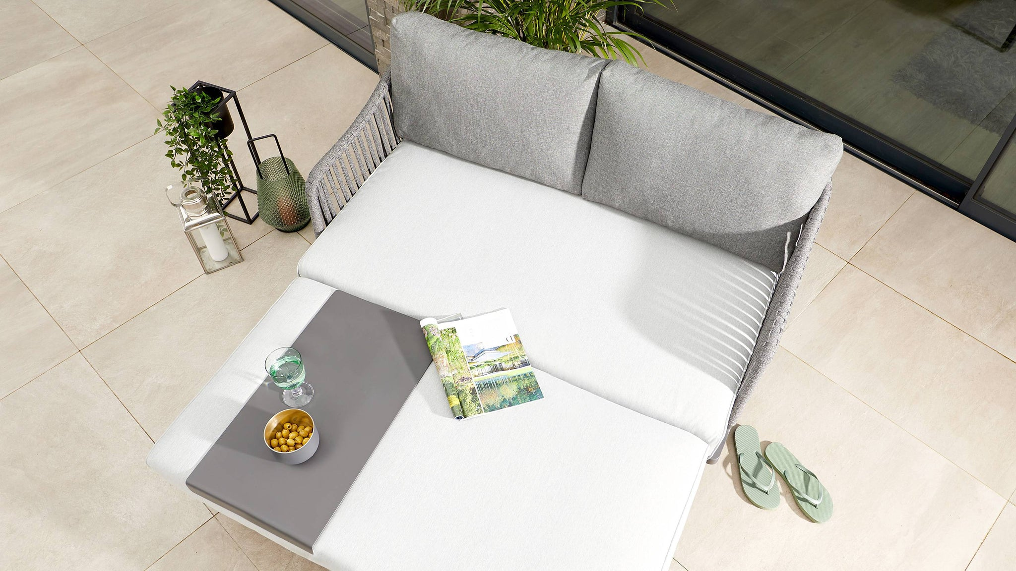 Slim grey garden tray