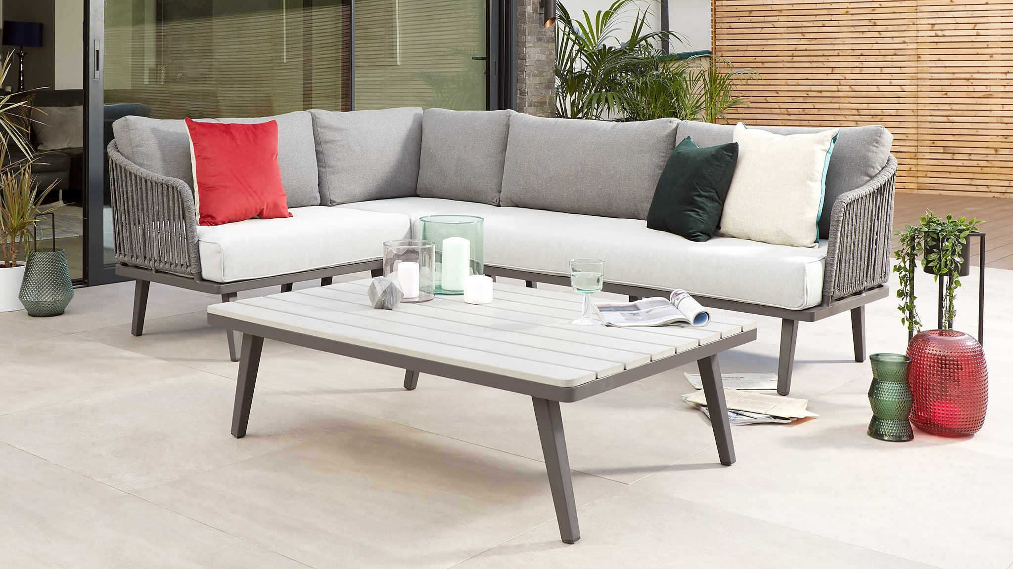 Modern rope back outdoor sofa