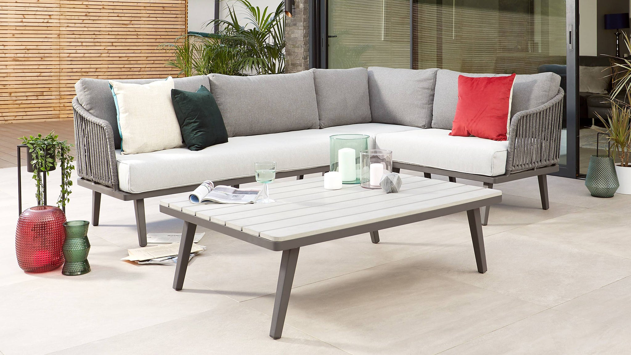 Rope back grey outdoor corner sofa