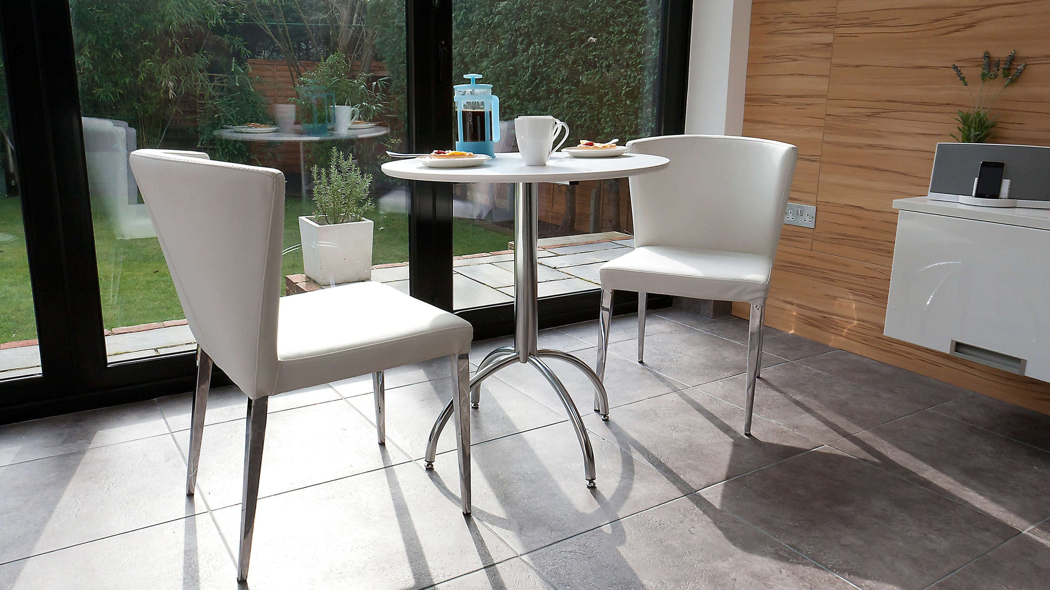 Matt White Dining Table and White Dining Chairs