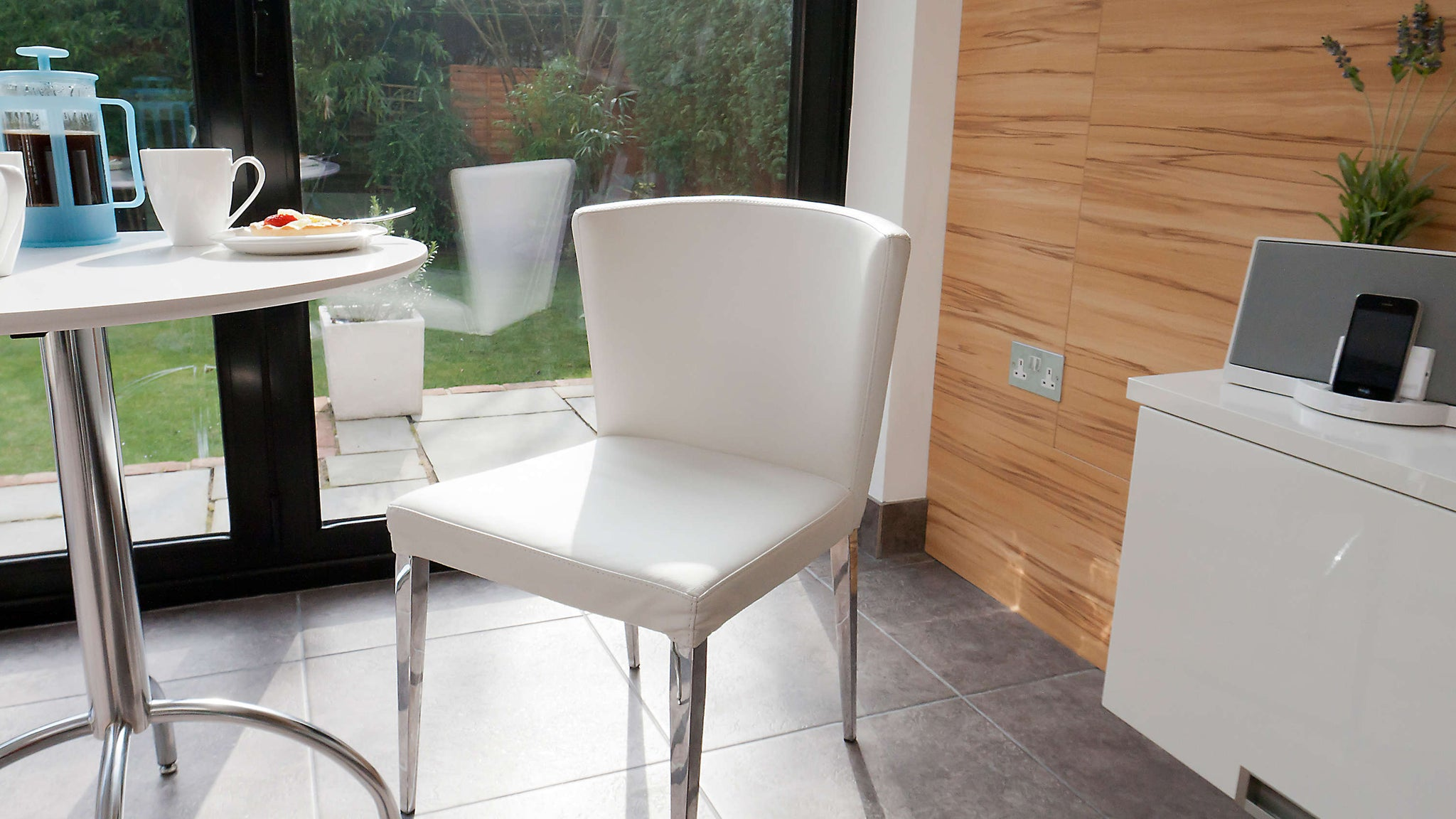 Modern White Small Dining Table and Leather Dining Chairs