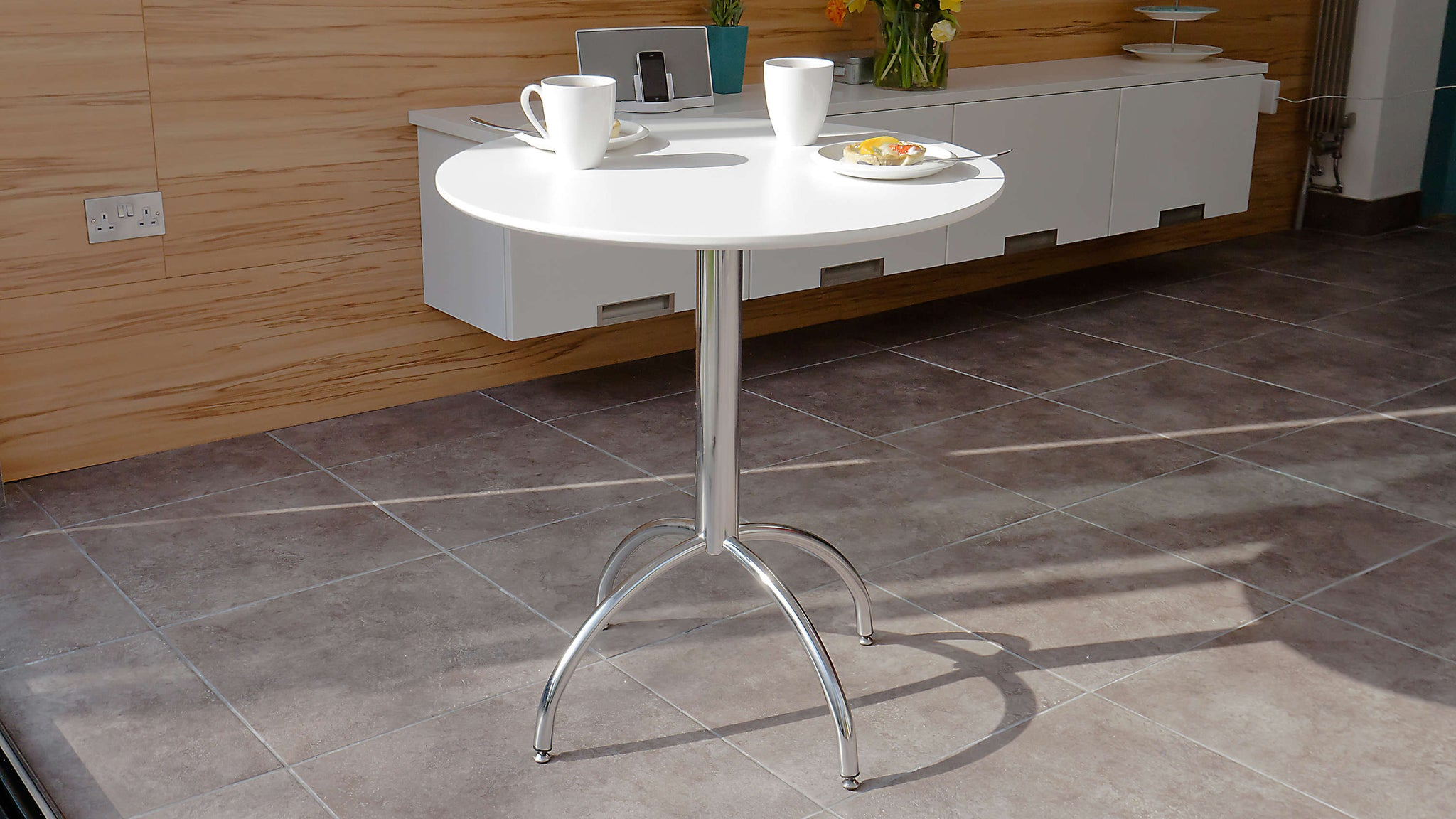 White and Chrome Legged 2 Seater Dining Table