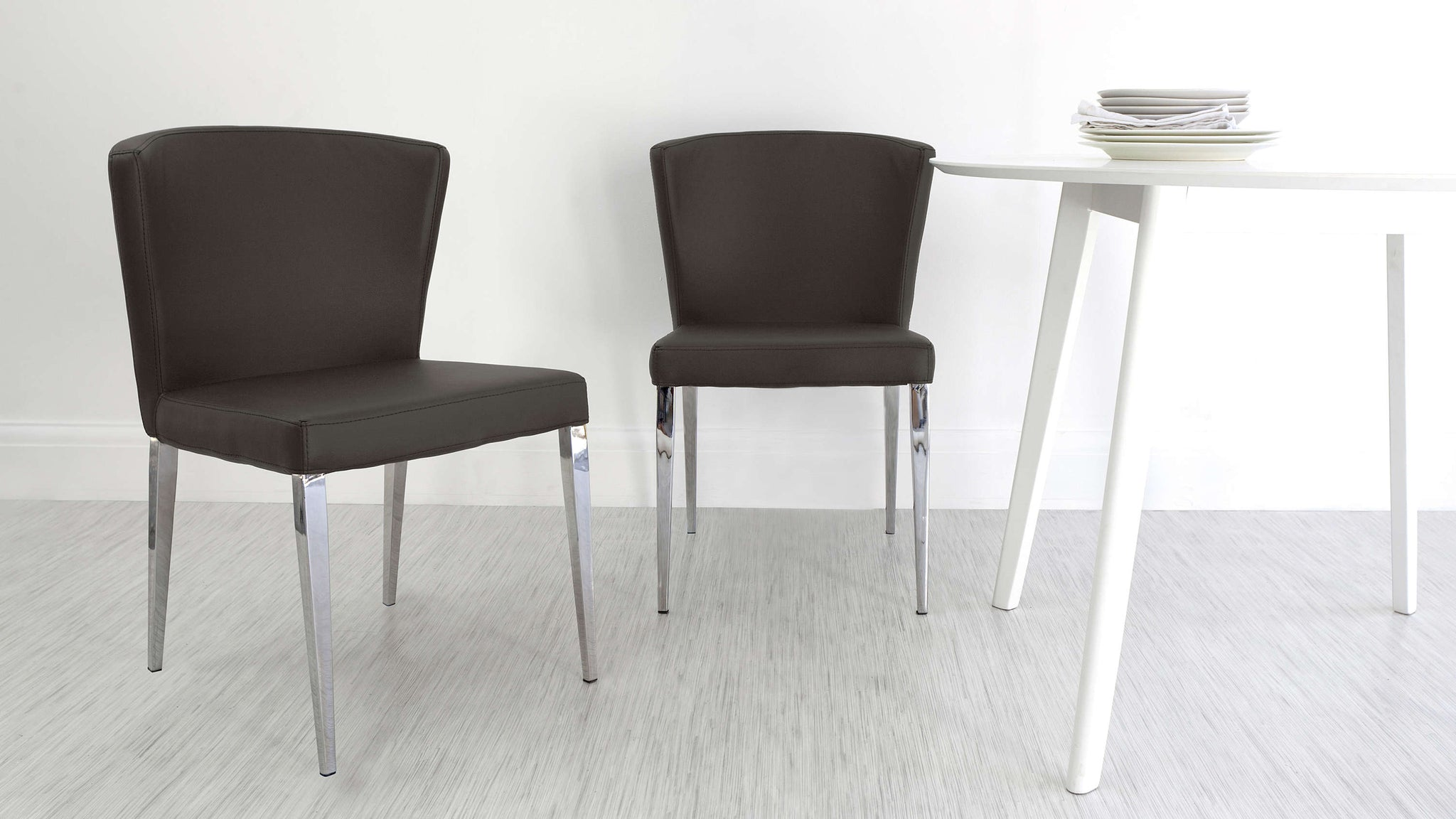 Round Backed Dining Chairs with Chrome Legs