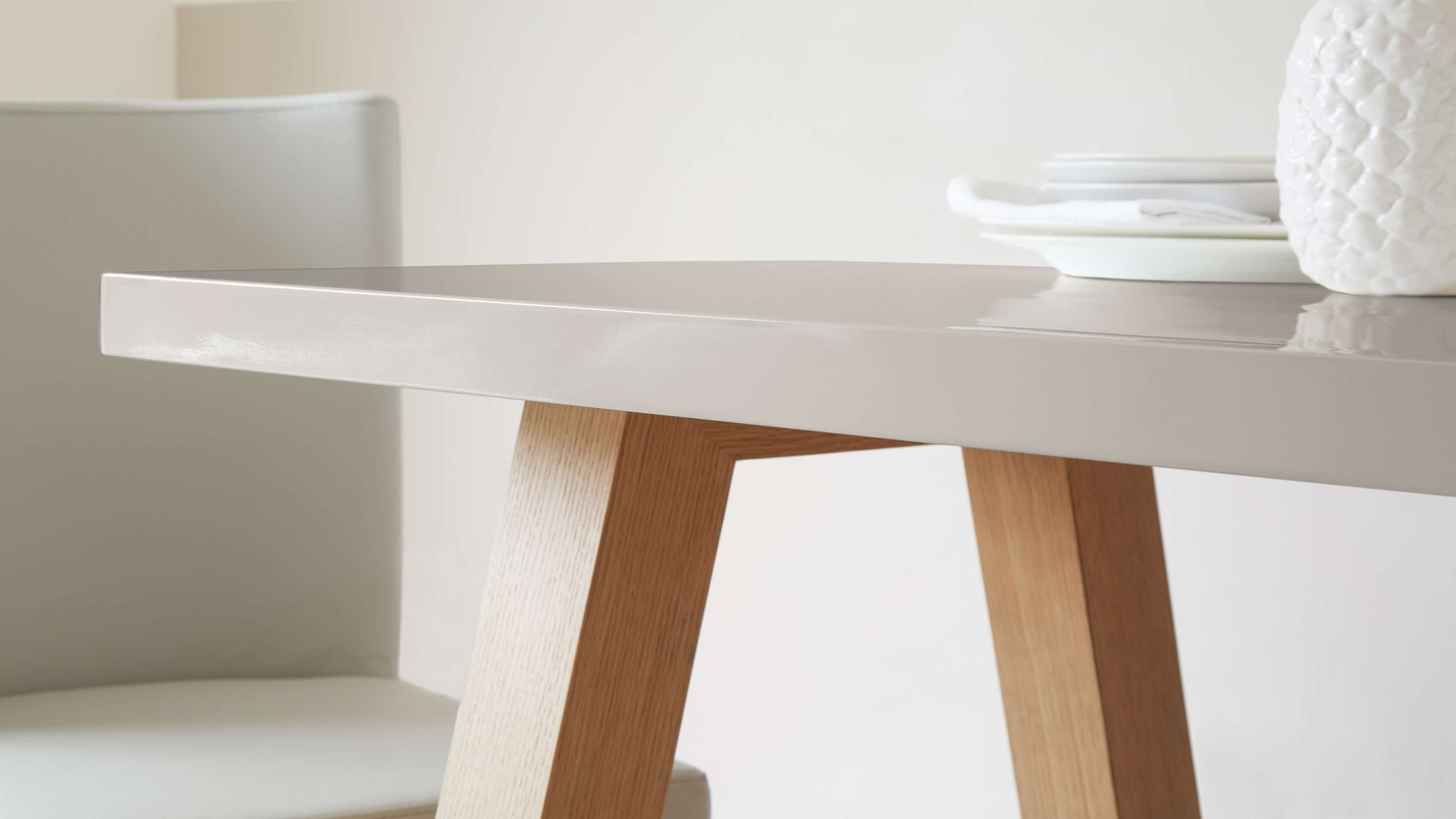 Contemporary Grey Gloss Dining Table