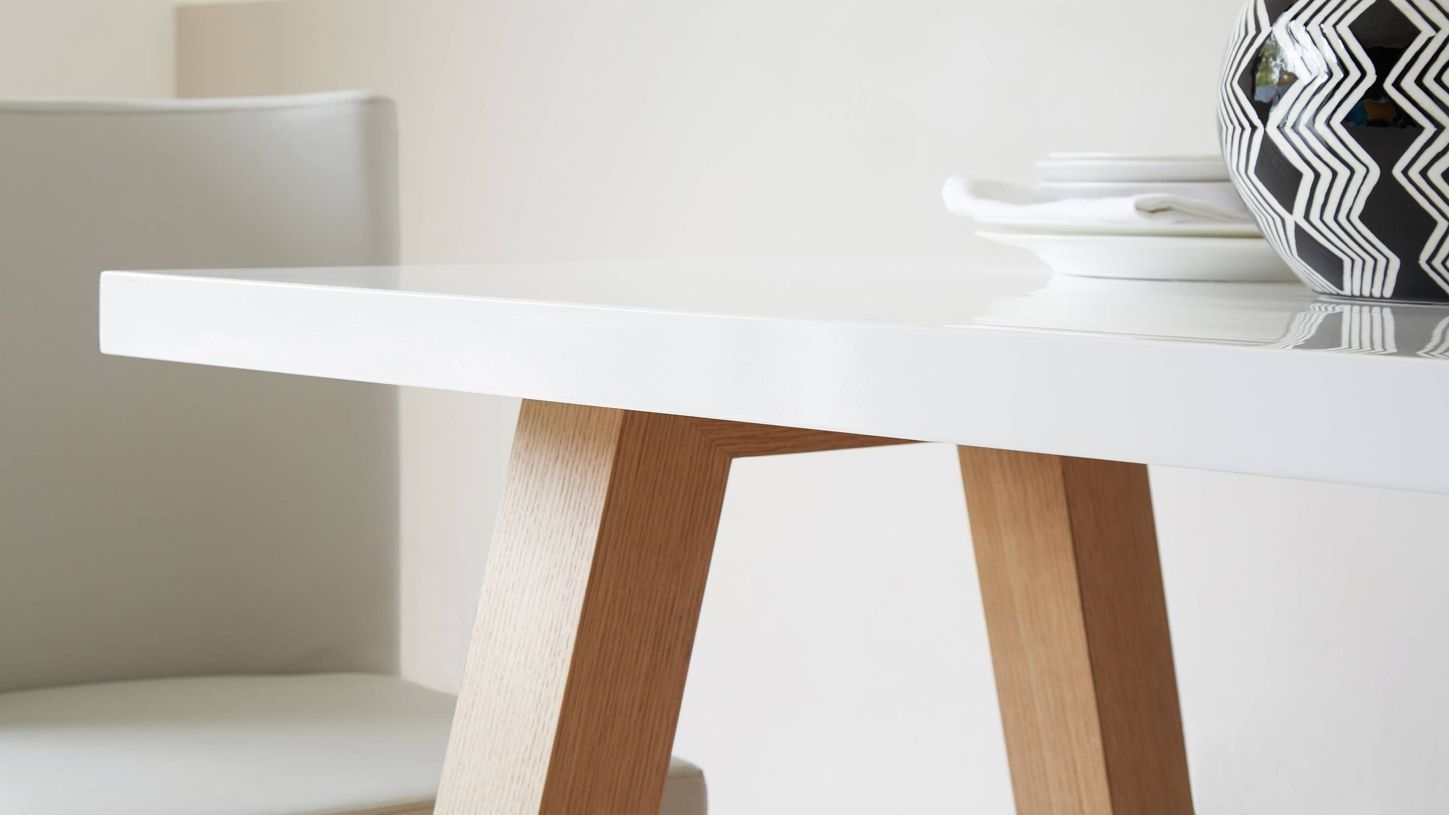 White gloss and oak 6 seater dining table Exclusively Danetti with Julia Kendell range