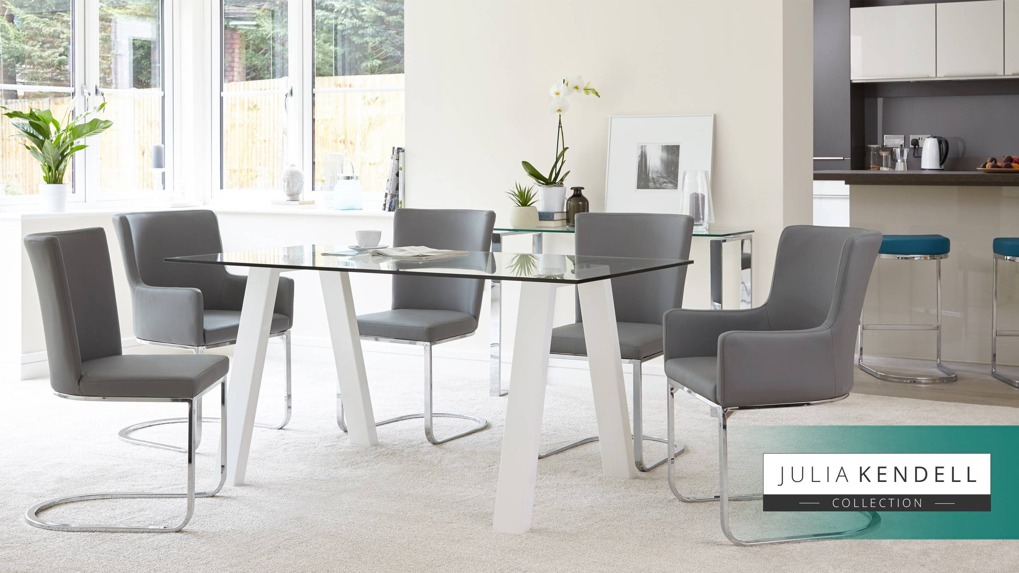 6 Seater Modern Glass Table White Gloss