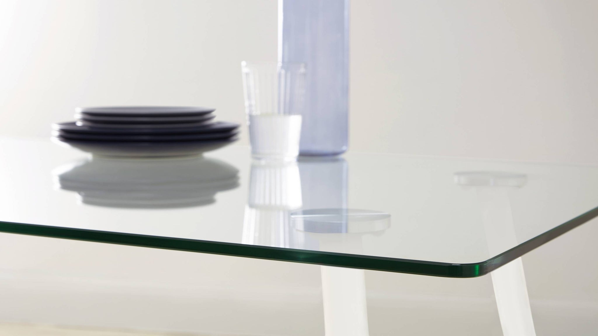 Buy matt white glass table set