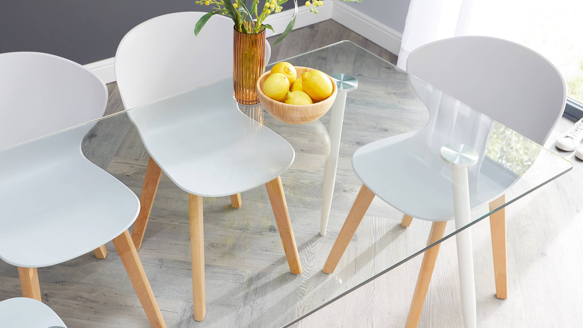Buy 6 seater glass table with wooden chairs