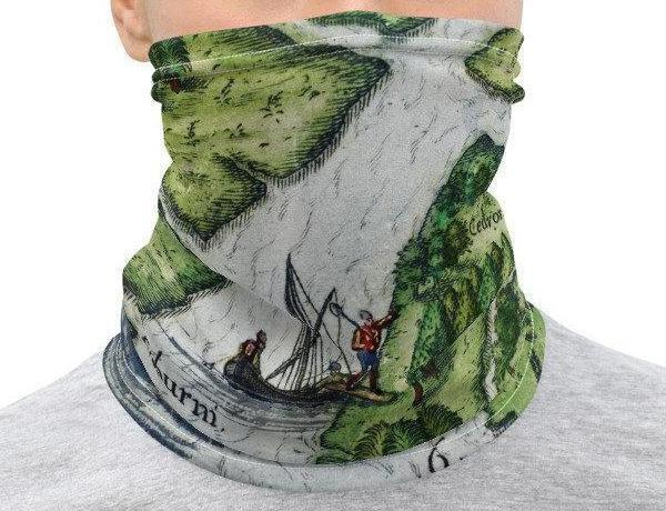 Face Covering-16th century Port Royal, South Carolina Map Illustration Neck Gaiter-Midnight Sheetcake