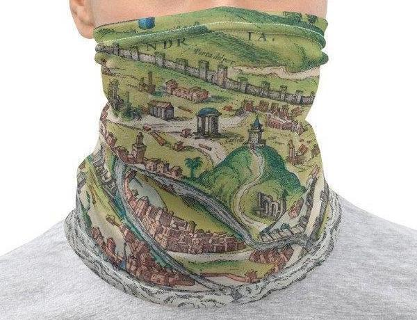 Face Covering-18th Century Map of Alexandria Illustration print Neck Gaiter-Midnight Sheetcake