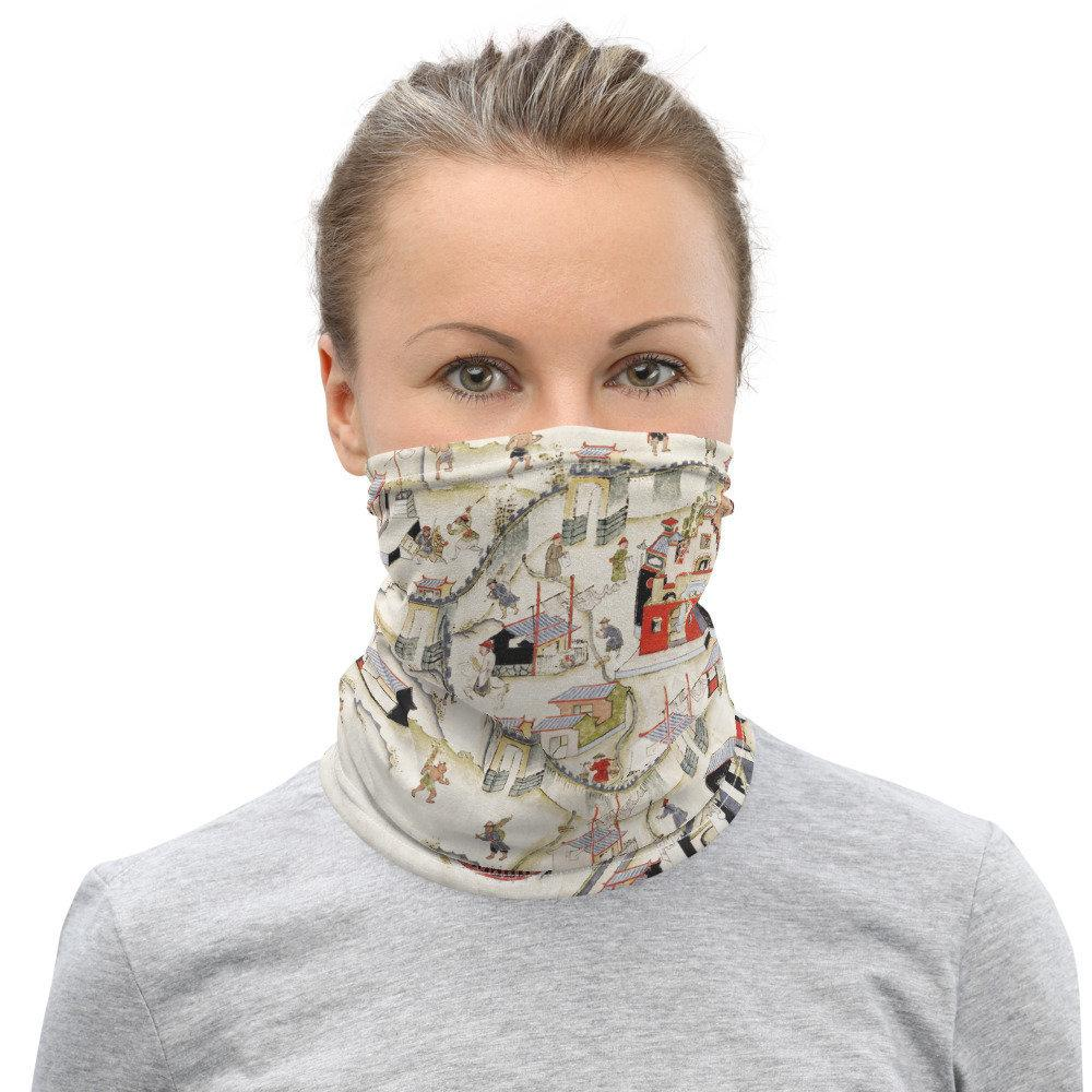 Face Covering-20th century Forts Zeelandia Map Neck Gaiter-Midnight Sheetcake