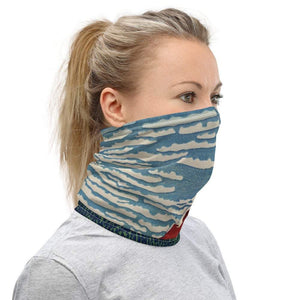 Face Covering-A Blue and Red Volcano Hokusai Illustration Print Neck Gaiter-Midnight Sheetcake
