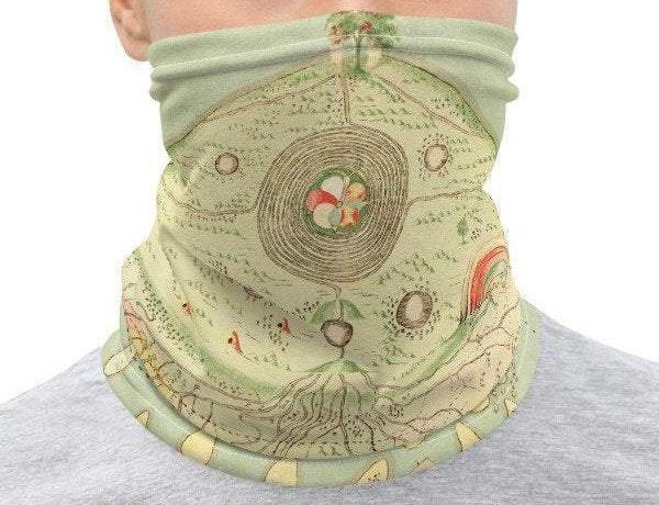 Face Covering-A Buddhist Spirit Phase Map illustration quirky esoteric print Neck Gaiter-Midnight Sheetcake