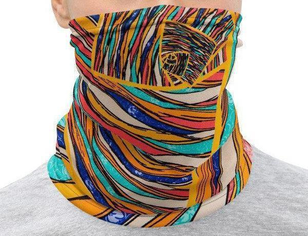 Face Covering-Abstract Colorful Illustration Print Neck Gaiter-Midnight Sheetcake