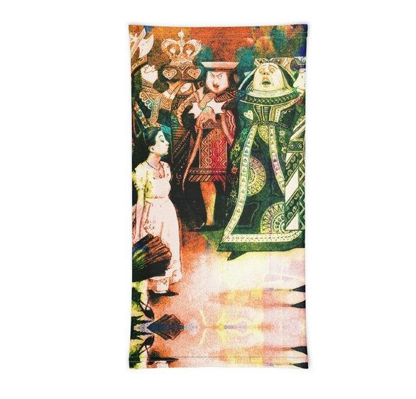 Face Covering-Alice and the Red Queen Collage Print Neck Gaiter-Midnight Sheetcake