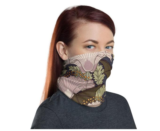 Face Covering-Bat and Flower Print Neck Gaiter-Midnight Sheetcake