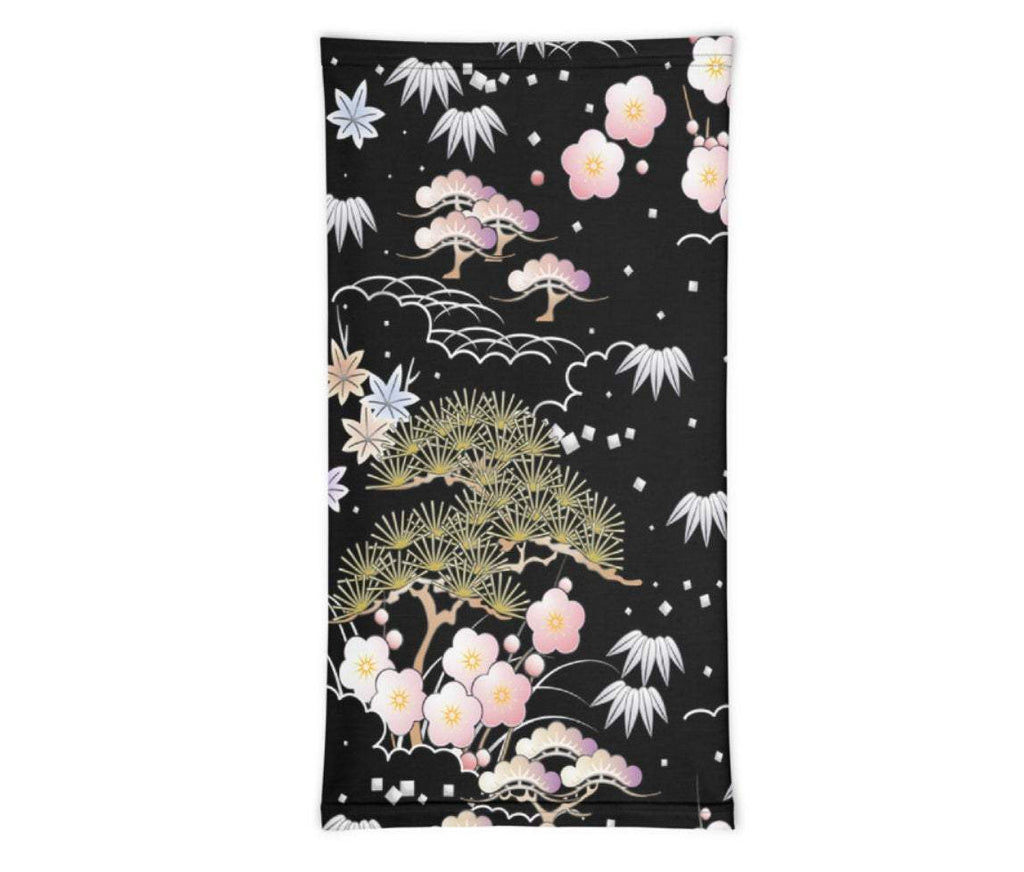 Face Covering-Black and Pink Asian Botanical Print Neck Gaiter-Midnight Sheetcake