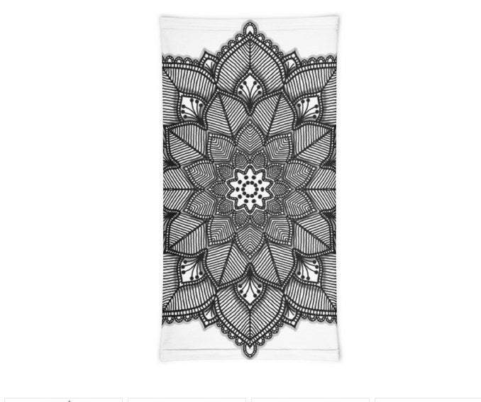 Face Covering-Black and White Mandala Print Neck Gaiter-Midnight Sheetcake