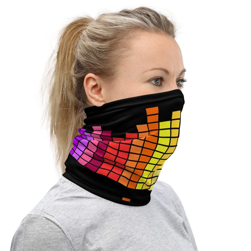 Face Covering-Black Rainbow EQ Neck Gaiter-Midnight Sheetcake