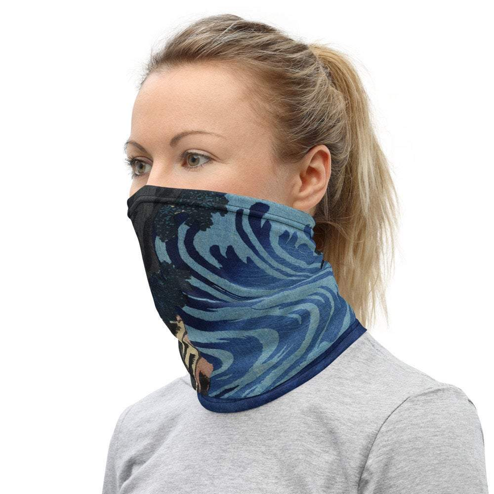 Face Covering-Blue and Brown Caoqi River Woodcut Design Print Neck Gaiter-Midnight Sheetcake
