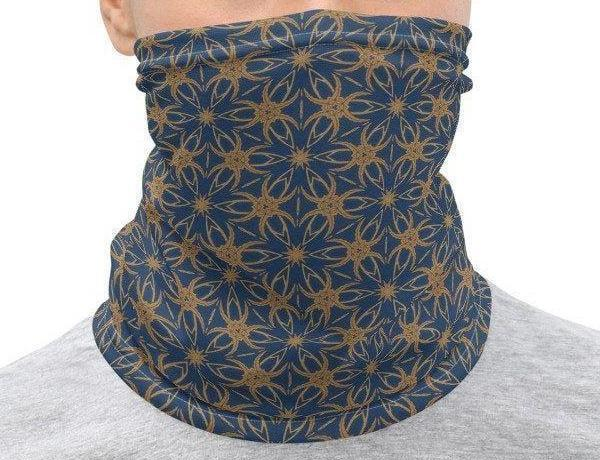 Face Covering-Blue and Gold Geo Print Neck Gaiter-Midnight Sheetcake