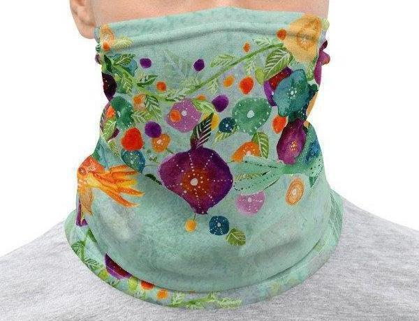 Face Covering-Blue and Purple Floral Illustration Print Neck Gaiter-Midnight Sheetcake