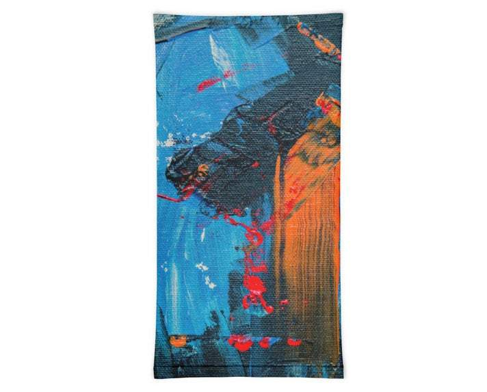 Face Covering-Blue and Red Abstract Painting Print Neck Gaiter-Midnight Sheetcake