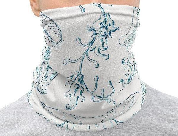 Face Covering-Blue and White Sealife Illustration Ernst Haeckel Design Neck Gaiter-Midnight Sheetcake