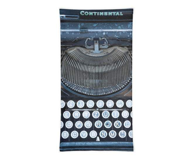 Face Covering-Blue Continental Typewriter Neck Gaiter-Midnight Sheetcake