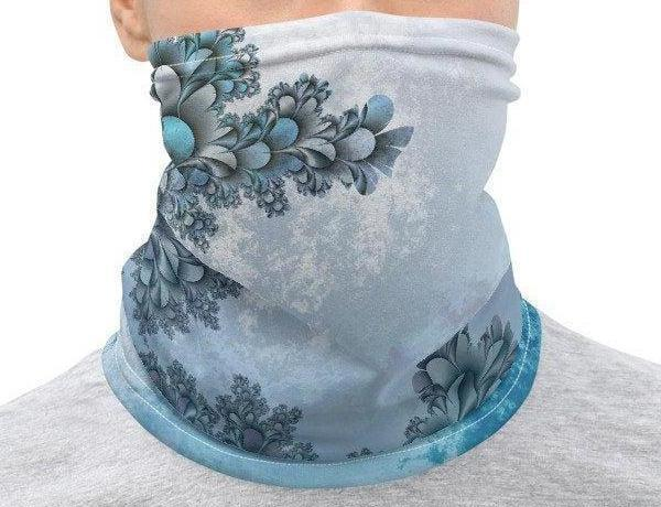 Face Covering-Blue Fractal Swirl Print Neck Gaiter-Midnight Sheetcake