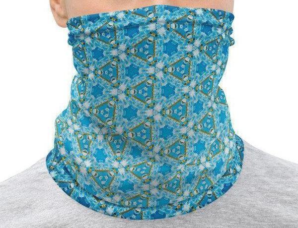 Face Covering-Blue Geometric Fractal Pattern Print Neck Gaiter-Midnight Sheetcake