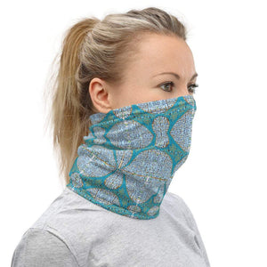 Face Covering-Blue Geometric Print Neck Gaiter-Midnight Sheetcake